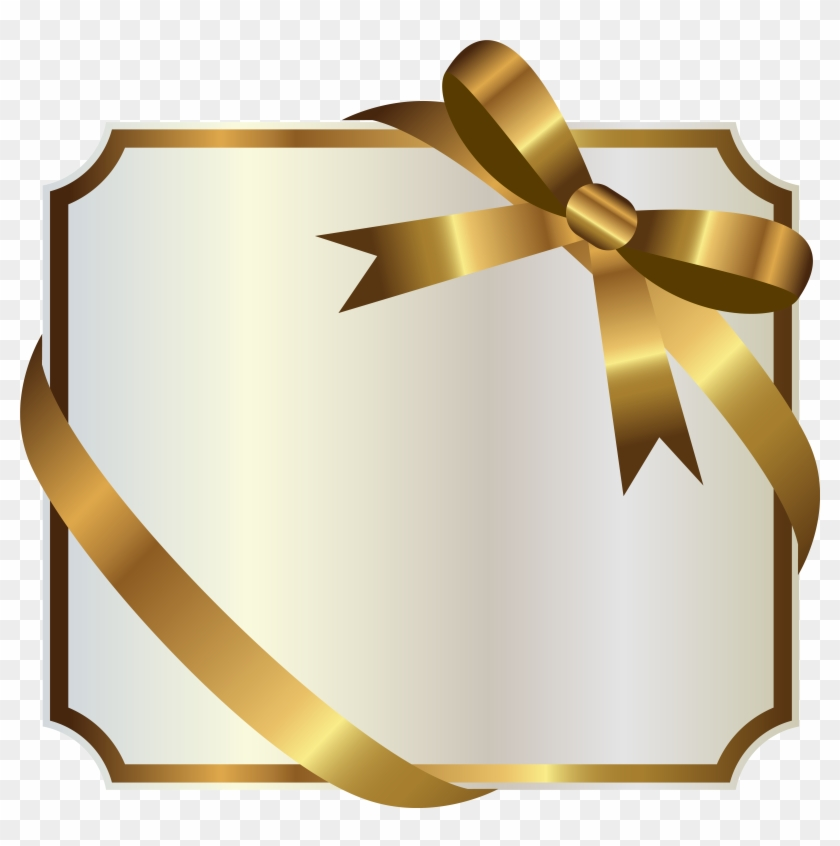 White Label With Gold Bow Png Clipart Image - Png Gold Banners #96337