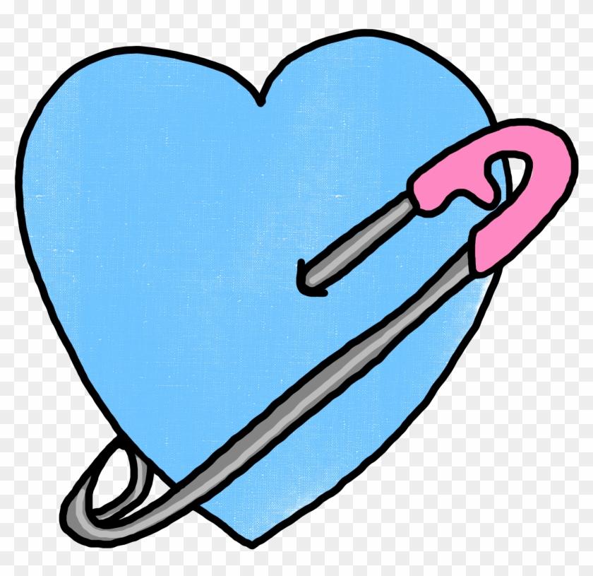 Heart Pinned Transparent Overlay By Mcjjang Heart Pinned - Blue Heart Tumblr Png #96447