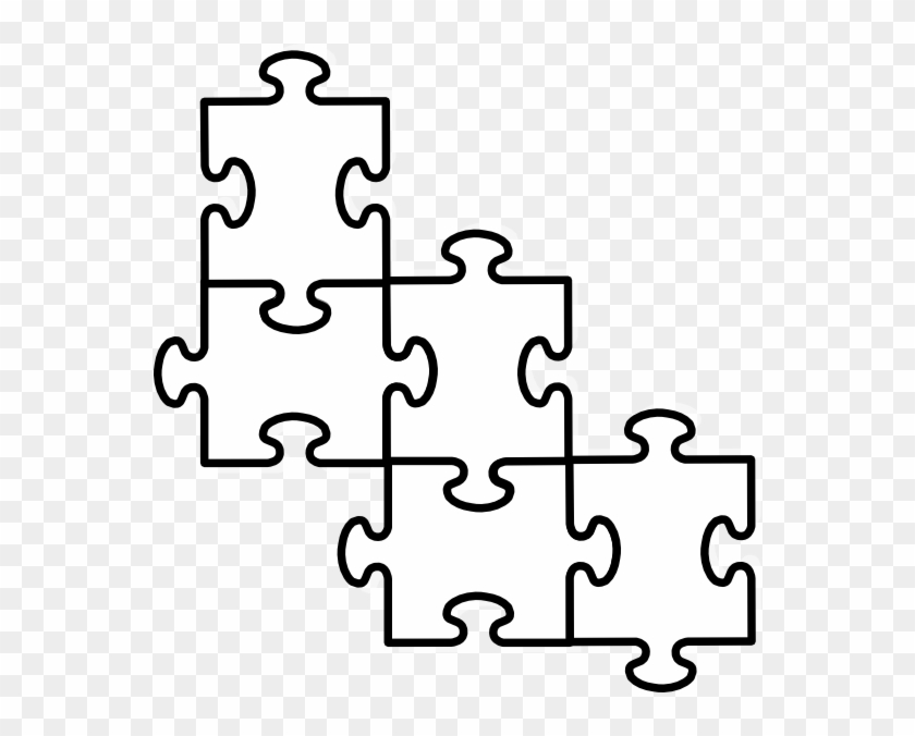 4 Puzzle Pieces Template - Four Puzzle Pieces Connected #96474