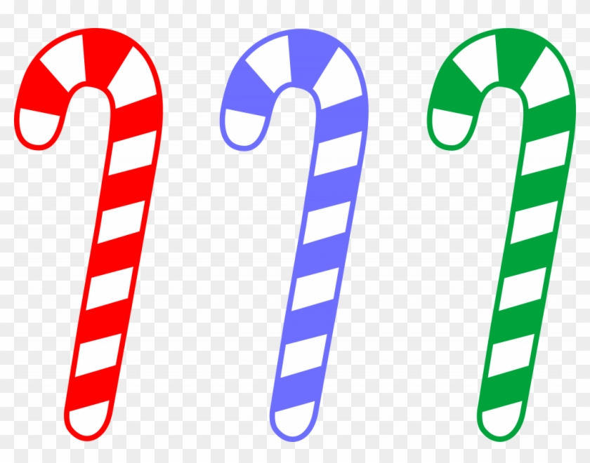 High Tech Cartoon Candy Canes Noted Red Blue And Green - Green Candy Cane Clipart #96577
