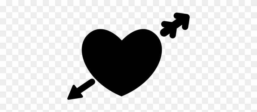Heart In Love With Cupid Arrow Vector Black Heart Logo Png Free