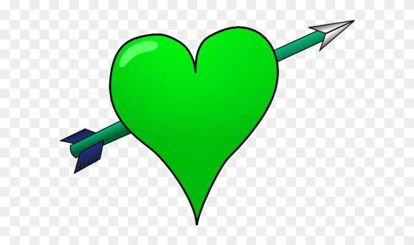 Heart With Arrow Through It Clip Art - Green Heart Arrow #96965
