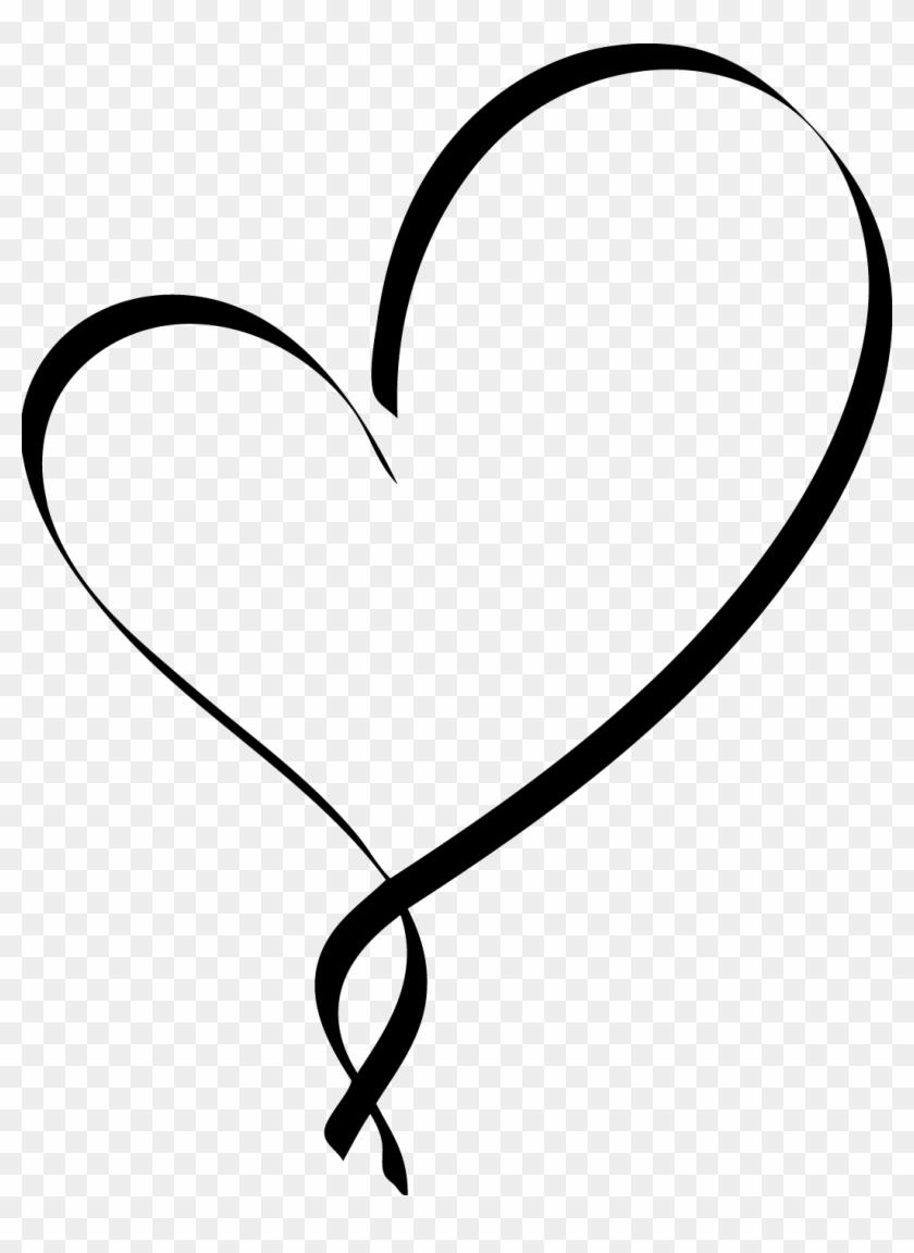 Heart Clipart Script - Black Heart Outline #97033
