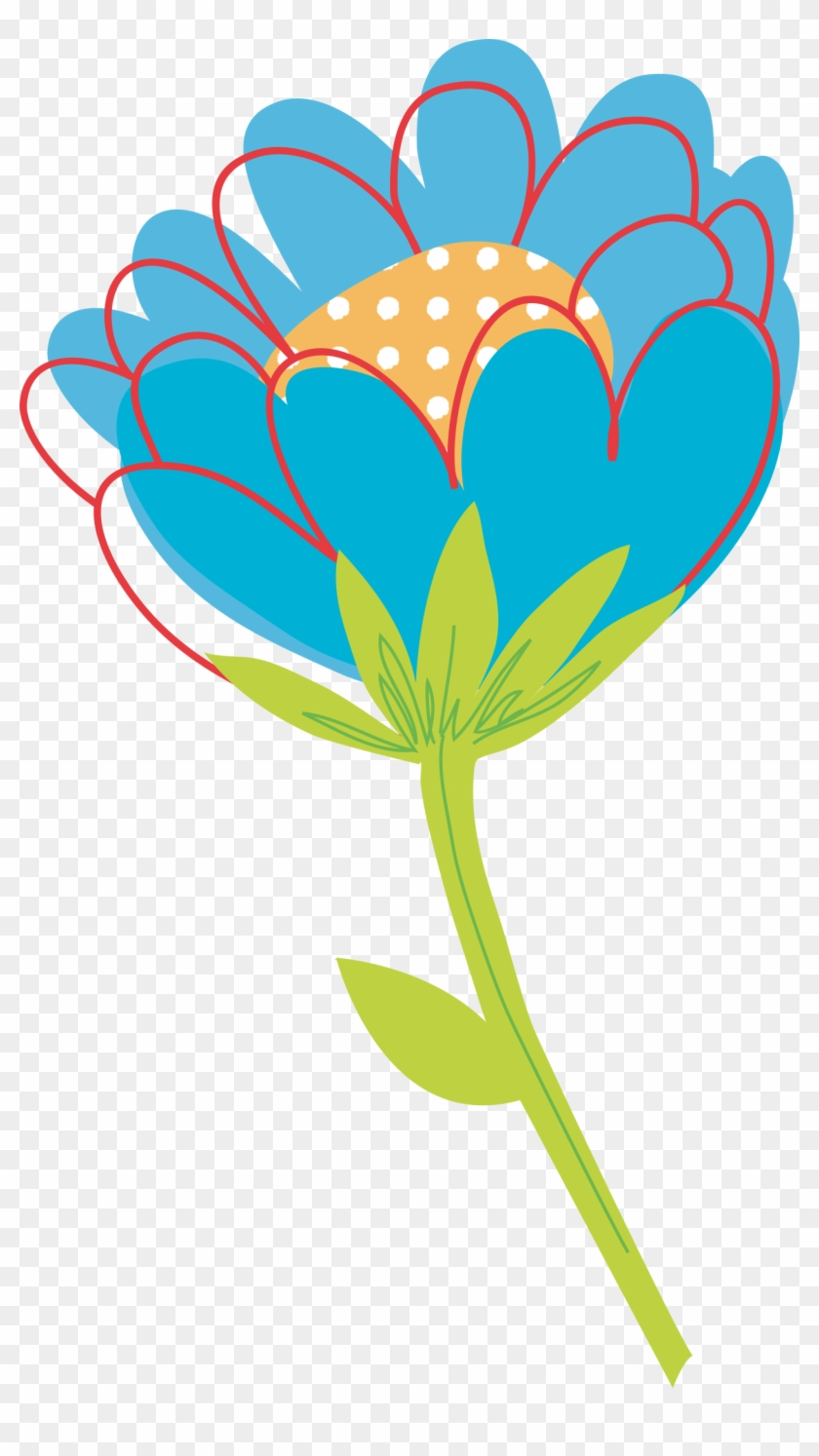 Blue Flower Clipart Big Flower - Flower Vector Png Png #97105