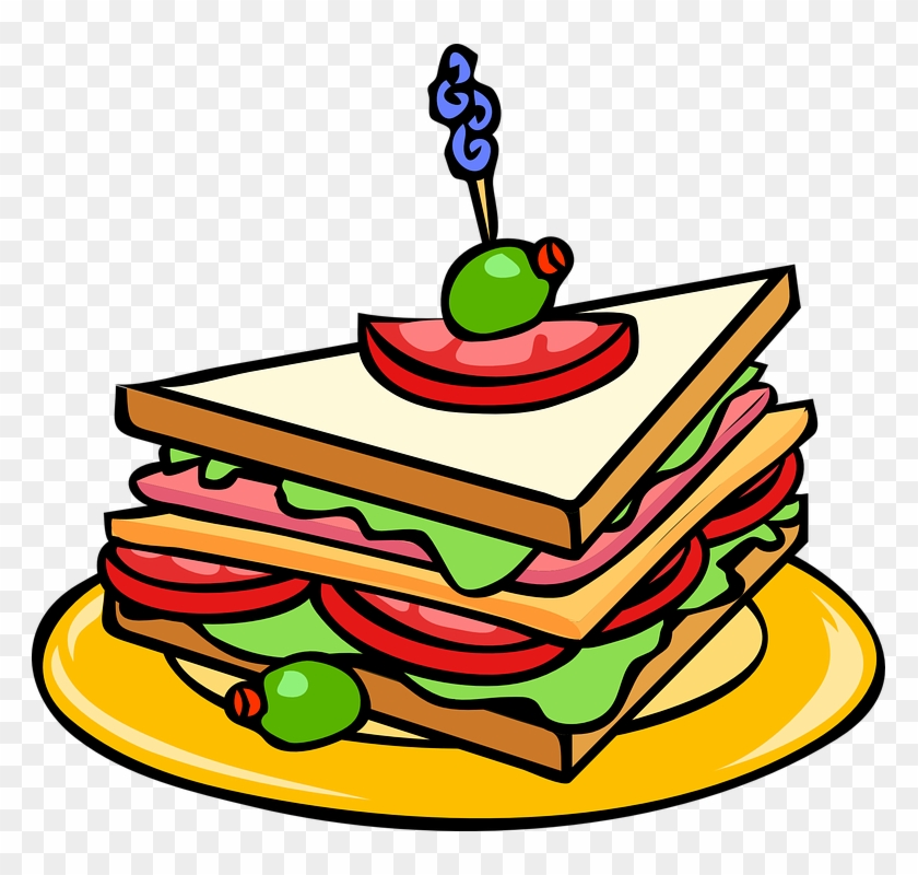 Party Food Clipart Sandwich Food Cheese Free Vector - Food Clipart #97122