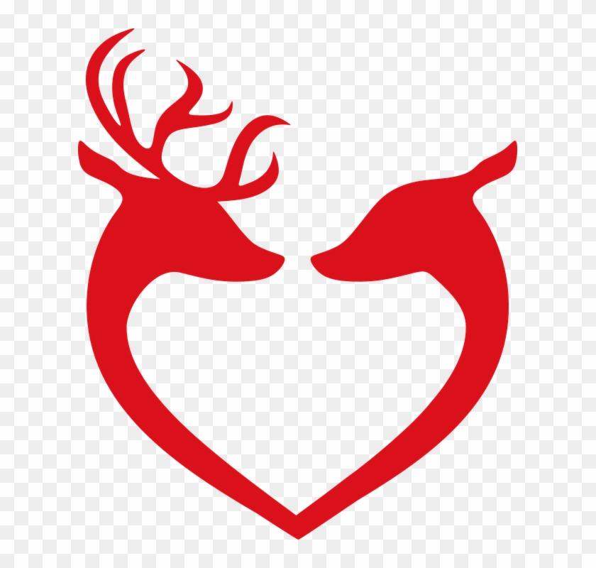 Reindeer Love Christmas Decoration Deer Decorative - Couple Stencil #97359