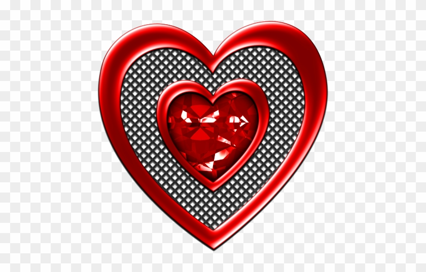 Jeweled Heart Red - Clip Art #97588