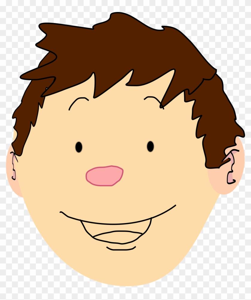 Clipart Of Boy Head Brown Hair Pencil And In Color - Boy Brown Hair Cartoon #97706
