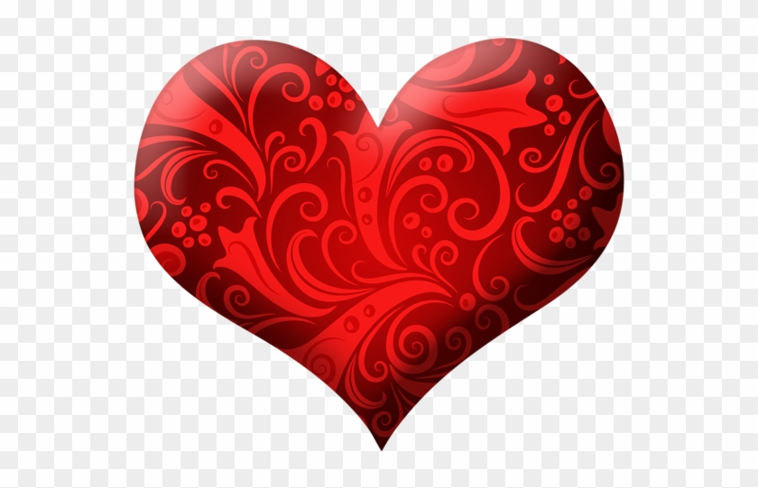 Red Heart With Ornaments Png Clipart Picture - Red Heart Png #97744