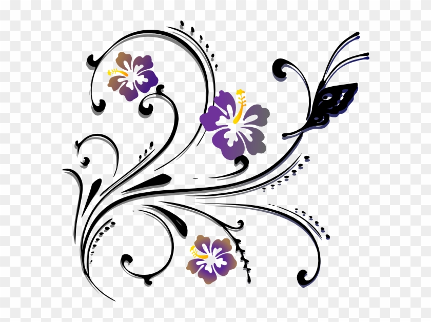 Butterfly Scroll Clip Art At Clker - Corner Designs For Painting #97856