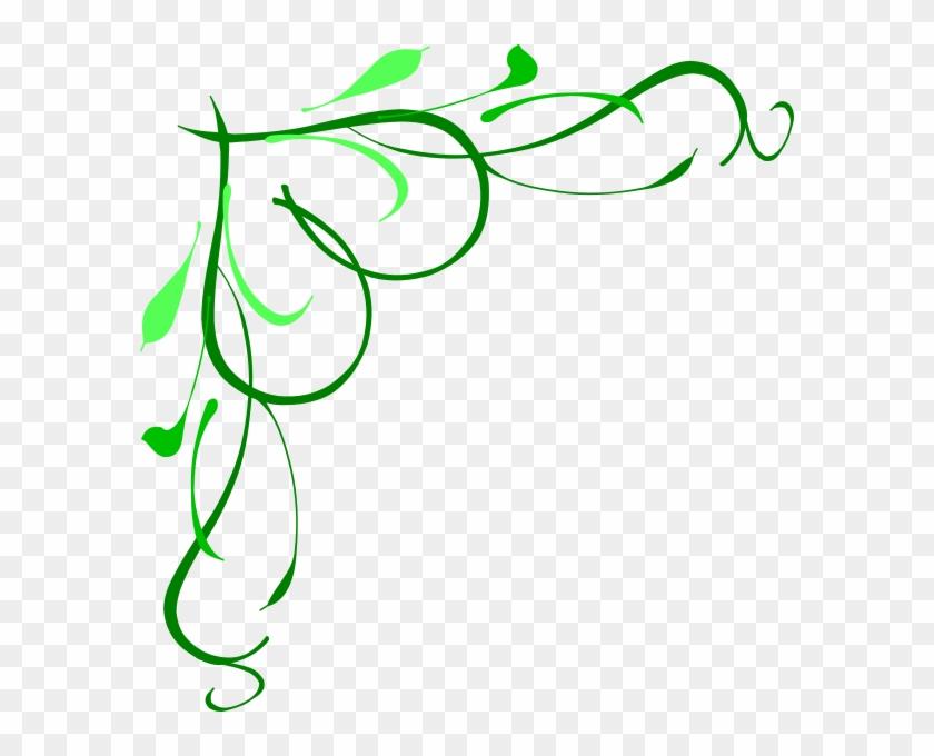Vine Heart2 Green-3 Clip Art At Clker - Corner Swirl Designs Png #97978
