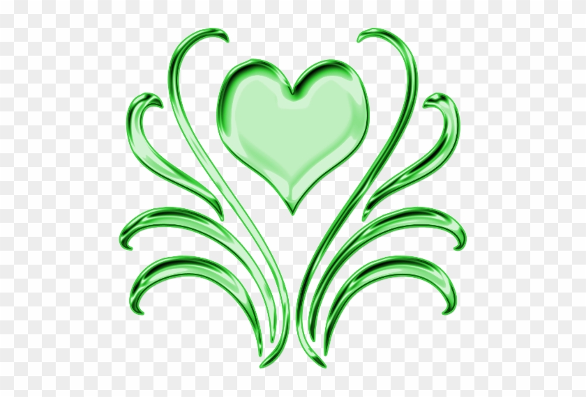 Green Heart And Leaves Decorative Png By Clipartcotttage - Green Heart Png #97983