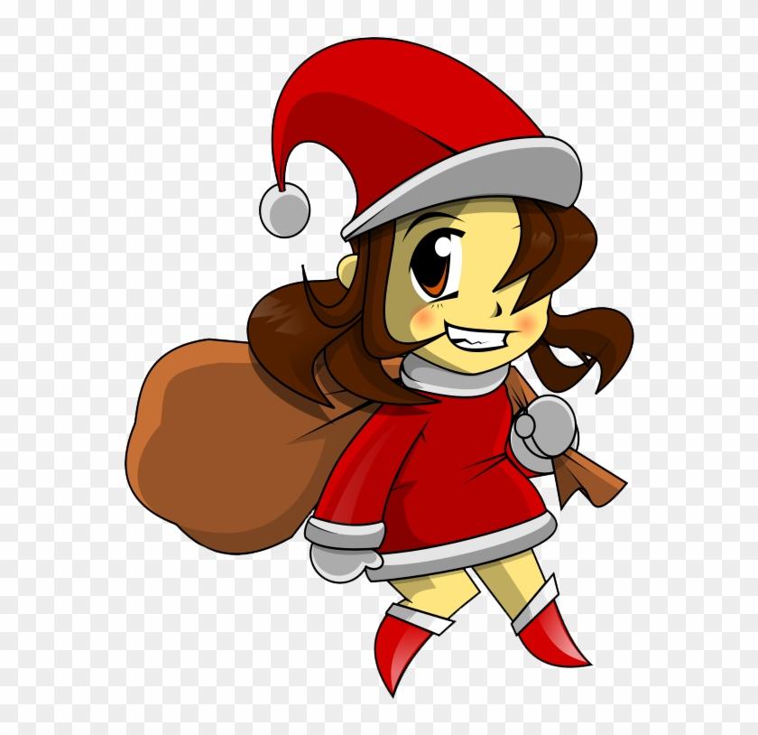 Girl Santa Outfit Clipart - Santa Girl Cartoon Png #97995