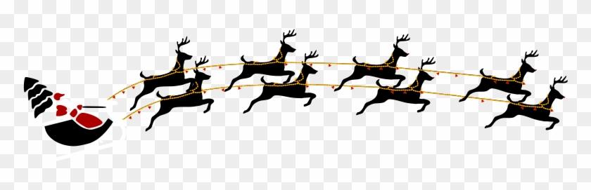 Santa With Eight Reindeer Clipart - Frohe Weihnachten Sankt Mit Ren Und Karte #98030