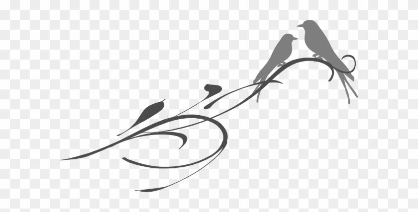 Love Birds On A Branch Grey Clip Art At Clker - Clipart Grey Love #98074