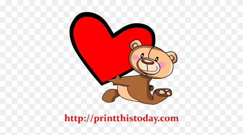 Teddy Bear Holding A Big Heart Clip Art - Bear #98098