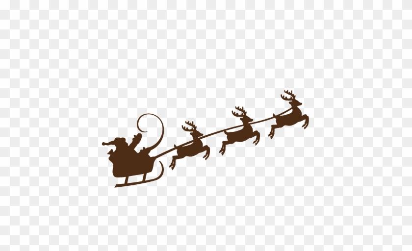 Reindeer Pulling Santa Svg Cutting Files For Scrapbooking - Santa And Reindeer Svg #98142