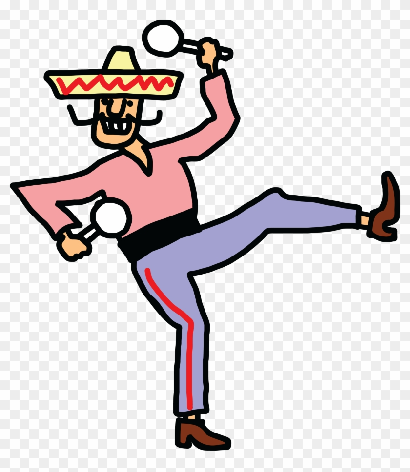 Free Clipart Of A Mexican Man Dancing With Maracas - Cartoon People Dancing #98253