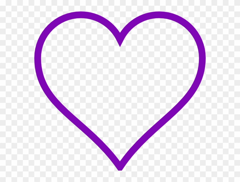 Purple Heart Outline Clip Art At Clker - Heart Clipart Black And White #98354