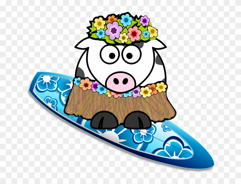 Surfer Girl Cow - Cow In Hula Skirt #98430