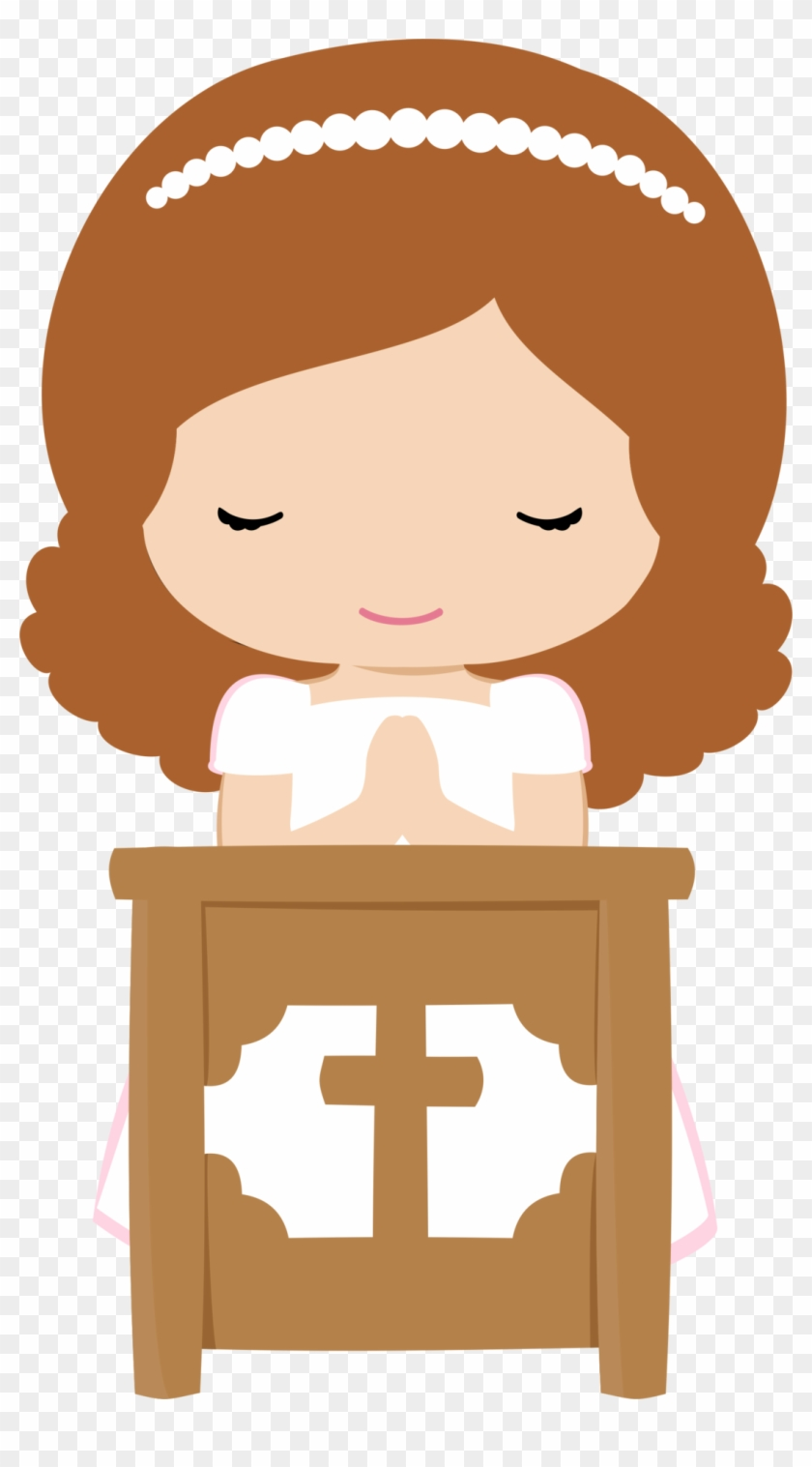Girls In Their First Communion Clip Art - First Communion Girl Clipart #98523