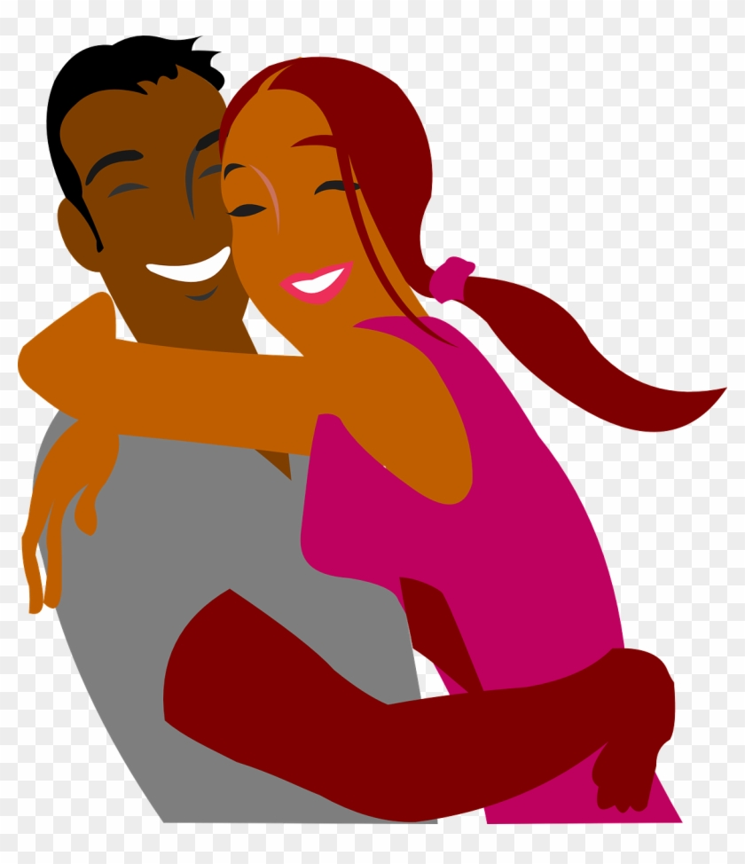 Black Couples Cliparts - Couple Hugging Clipart #98621