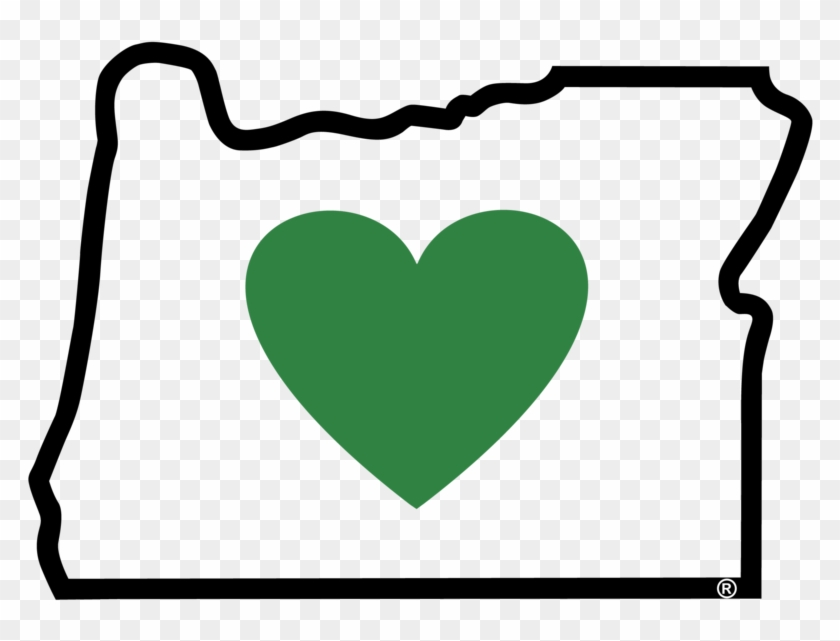 Oregon Cliparts - Oregon Outline With Heart #98650