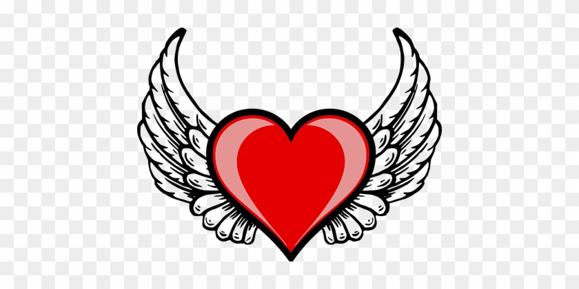Heart Wing Amor Cupid Love Valentine Heart - Love Heart With Wings #98977