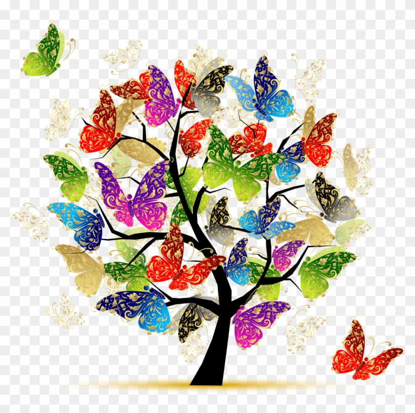 """ Butterfly Tree Illustration - Tree Of Life Butterflies #99248"