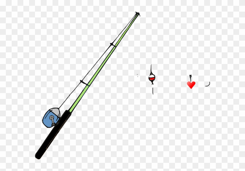 Fishing Pole Heart Clip Art - Fishing Rod Transparent Background #99276