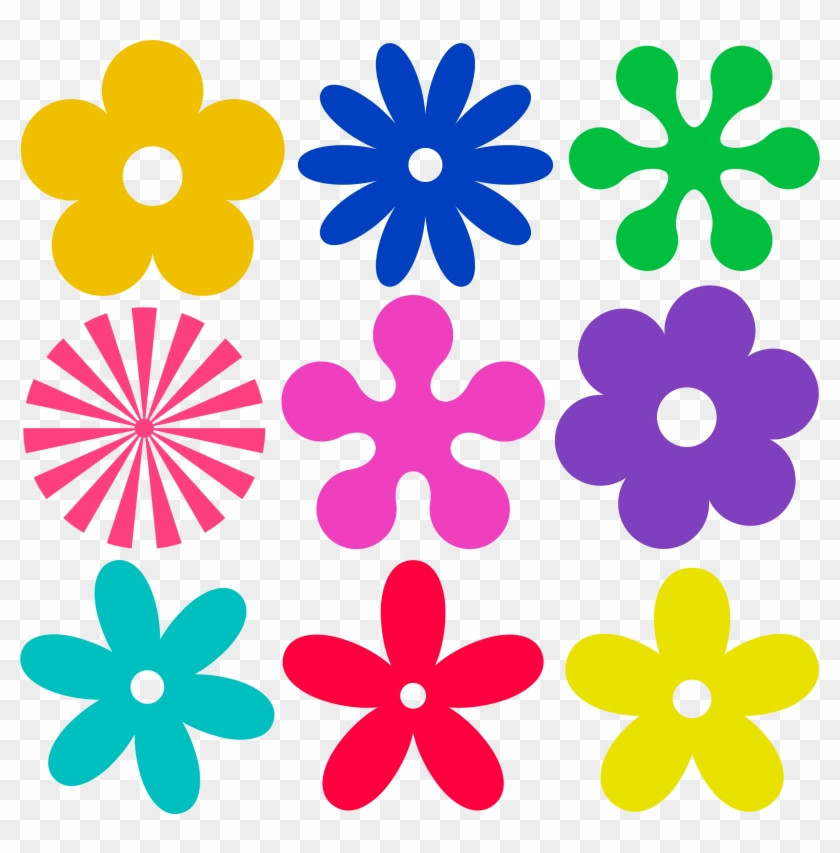 Flowers Clip Art - Groovy Retro Flowers Shower Curtain #99341