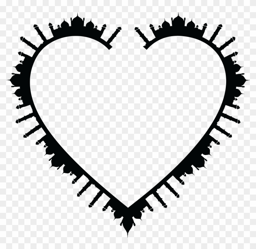 Free Clipart Of A Heart Frame Of Mosques In Black And - Mosque #99481