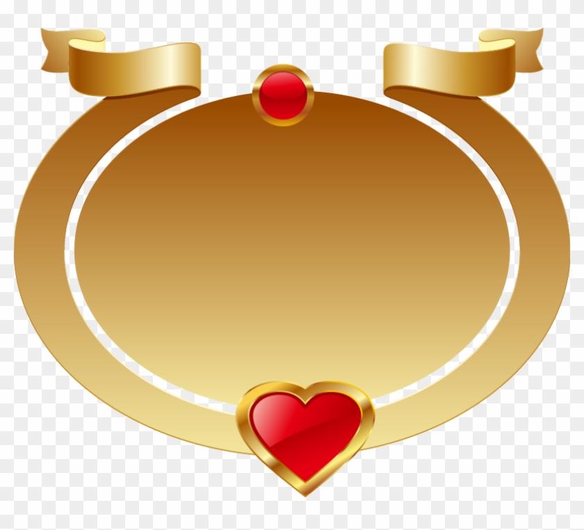 Gold Oval Frame Red Heart-shaped Ribbon - Png Frame Rebben #99561