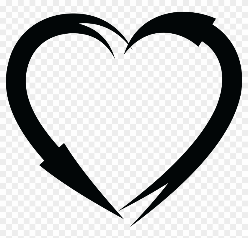 Free Clipart Of A Black And White Heart Frame Of Arrows - Heart Frame Png Black #99614