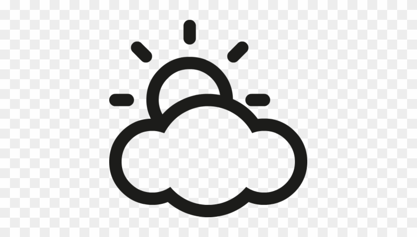 Partly Cloudy Clipart Black And White Clipartfest - Sunny Cloudy Weather Icon #100042