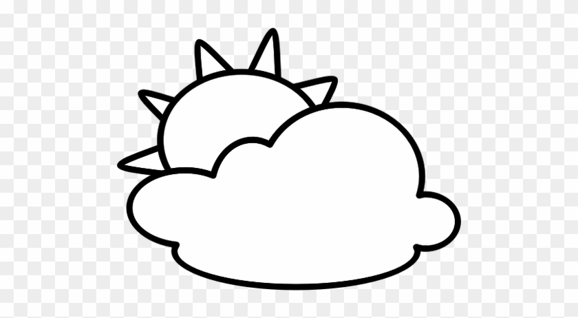 Clipart Prissy Inspiration Partly Cloudy Clipart Outline - Weather Clipart Black And White #100063