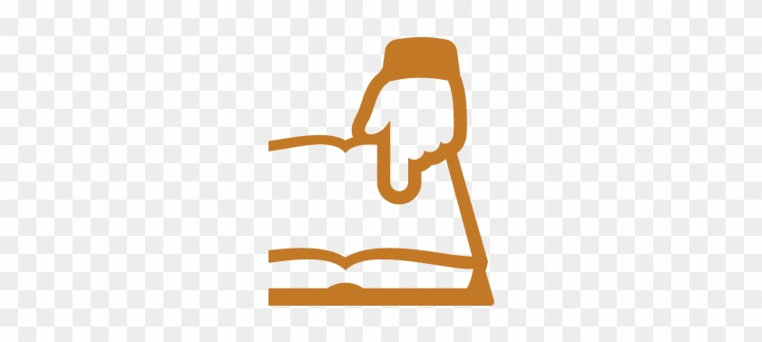 Orange Icon Of Hand Pointing At A Book, Representing - User Guide #100185