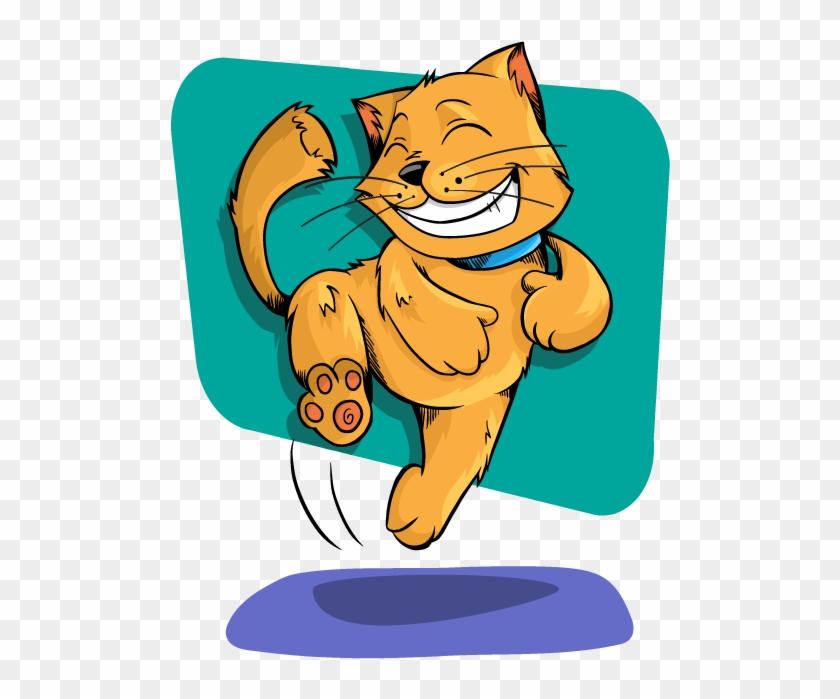Cat Jumping Clipart Kittens Happy Pencil And In Color - Happy Cat Clip Art #100580