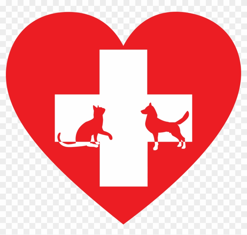 Free Clipart Of A Silhouetted Cat And Dog With A Red - Clip Art Veterinarian #100943