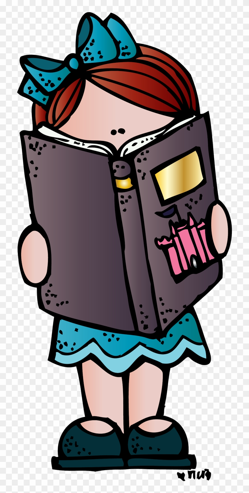 Melonheadz Girl Reading Clipart - Reading Melonheadz #101253