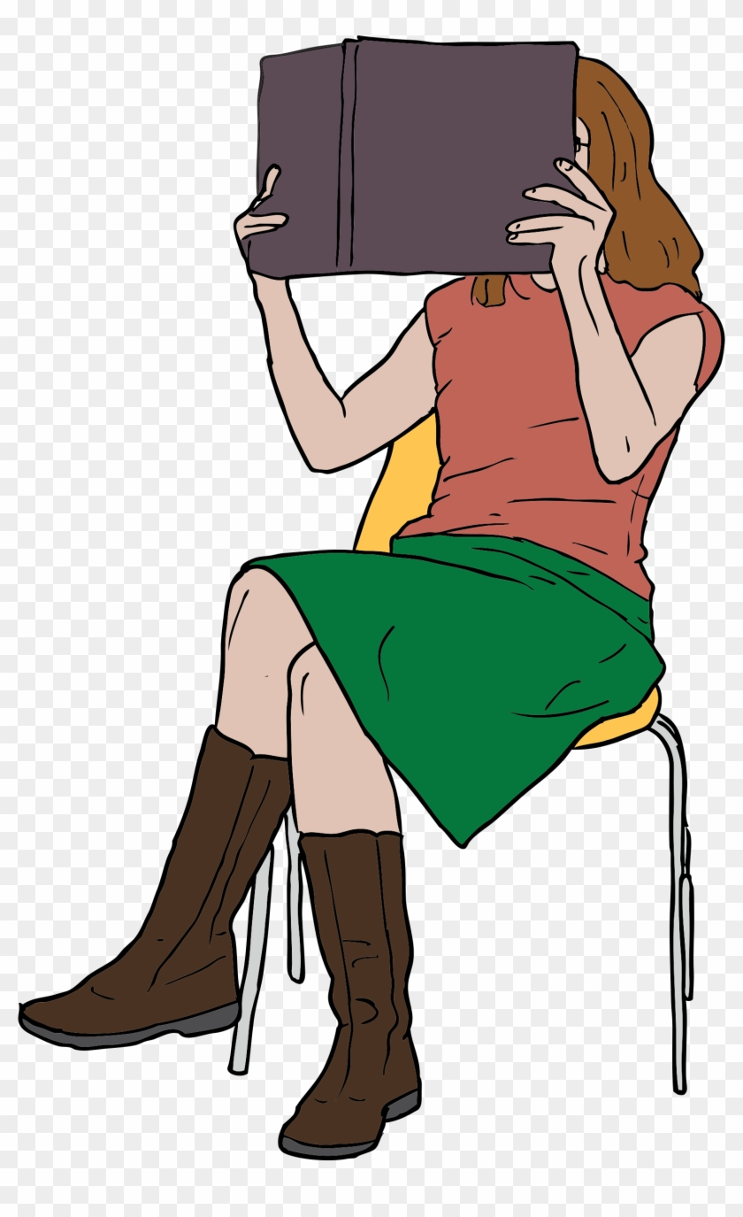 Woman Reading Book While - Teenager Reading Clip Art #101326