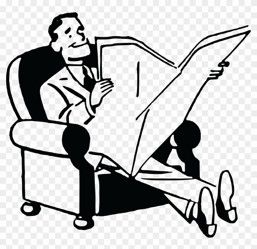 Free Clipart Of A Black And White Retro Man Reading - Man Reading Newspaper Clipart #101339