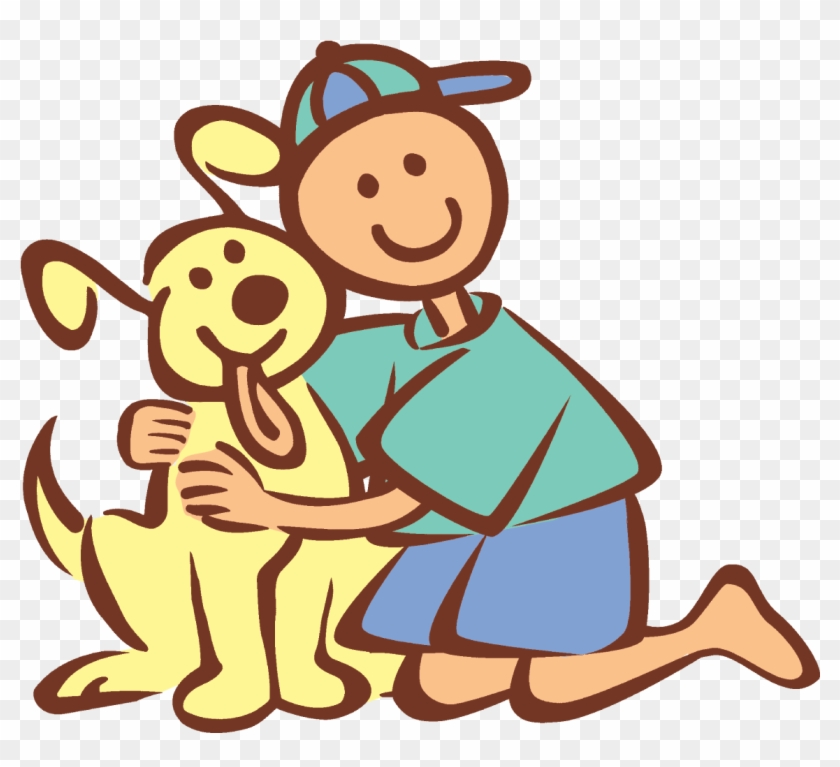 Animal Lover Clipart - Boy And His Dog #101391