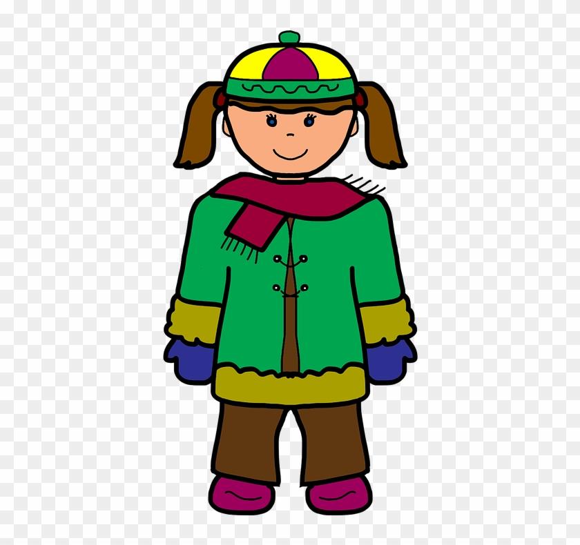 Girl Cartoon Winter Cold Scarf Christmas Treads - การ์ตูน เด็ก ฤดู หนาว #101404
