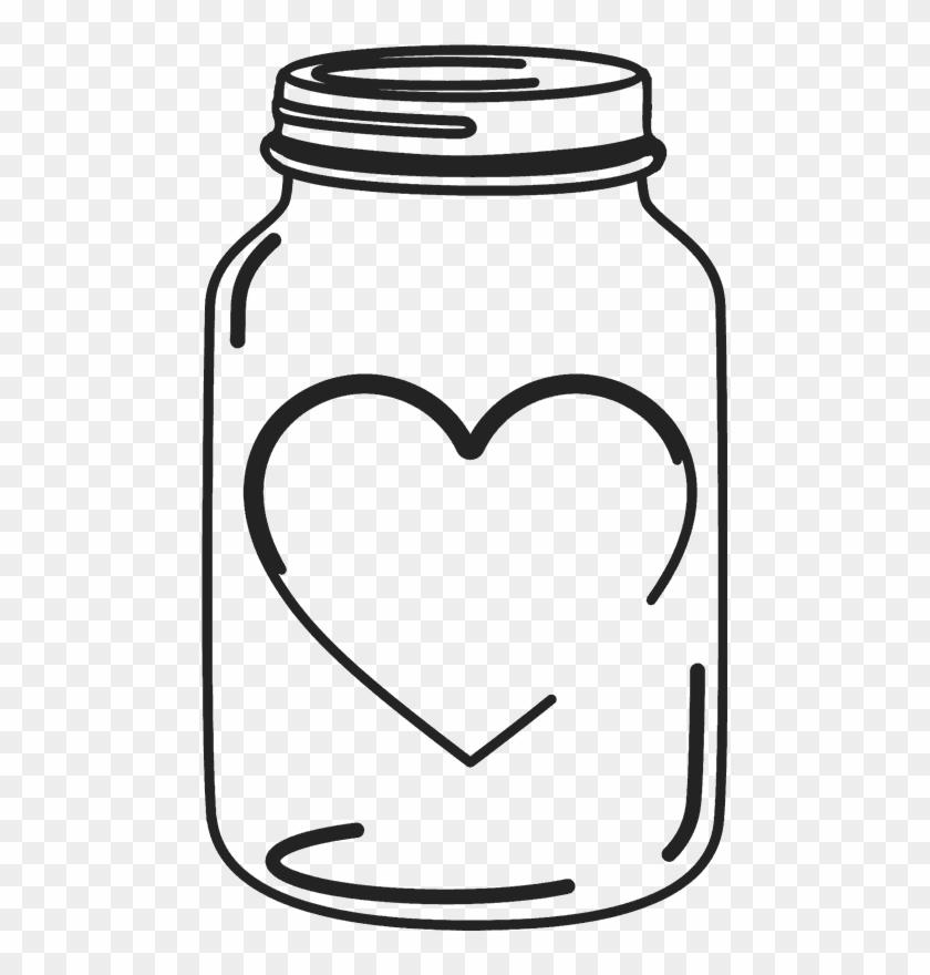 Mason Jar Rubber Stamp With Heart Mason Wedding - Clip Art Mason Jar #101705