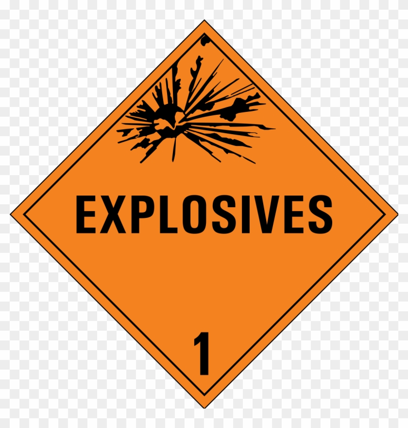 Class 1 Danger Sign Clip Art Free Vector - Class 1 Hazardous Materials #101849