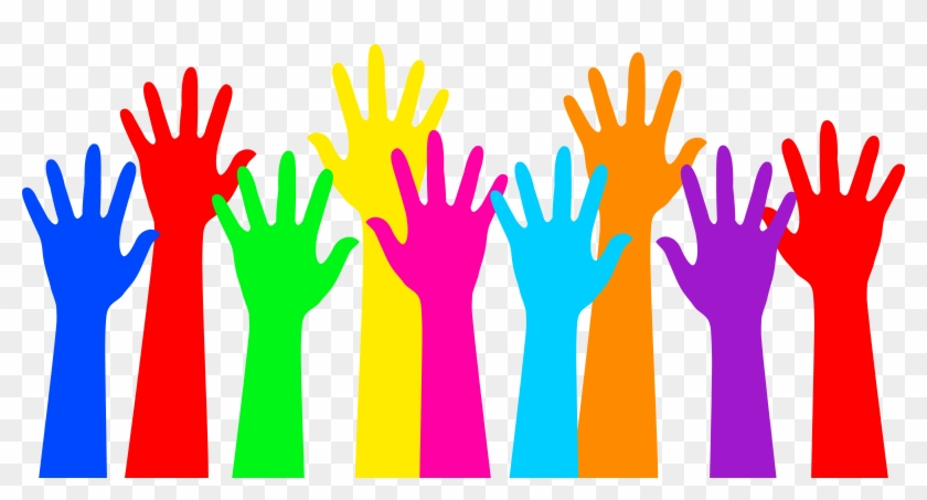Rainbow Colored Raised Hands - Rainbow Colored Raised Hands #101871
