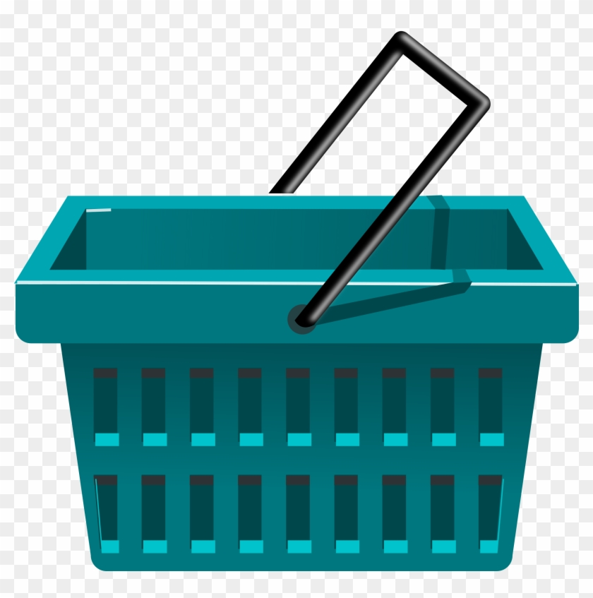 Clipart Blue Basket - Shopping Basket Clipart #102706