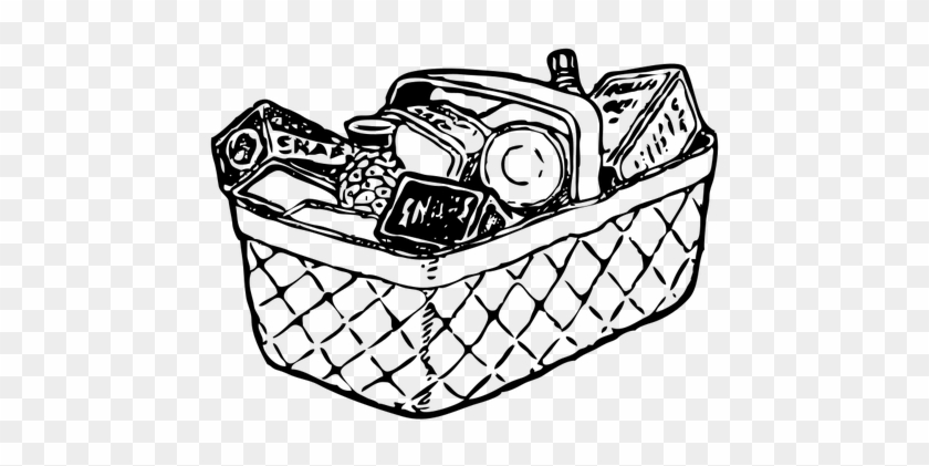 Basket Clip Art - Groceries Black And White #102752