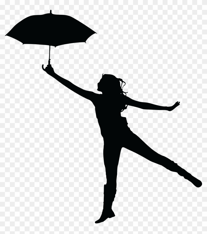 Free Clipart Of A Woman Dancing With An Umbrella - Woman Umbrella Silhouette #102801